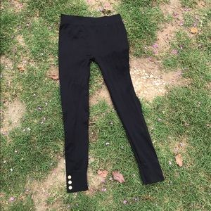 M/L black leggings with gold buttons by George